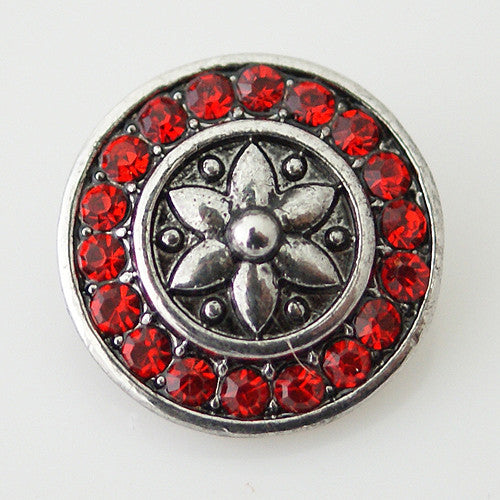 Silver Lilly with Red Rhinestone Circle - Mya Grace - Snap Jewelry