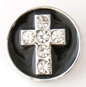 Clear Rhinestone Cross on Black Enamel - Mya Grace - Snap Jewelry