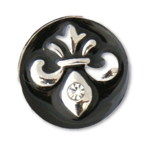 Silver Fleur de Lis with Single Stone - Mya Grace Jewelry
