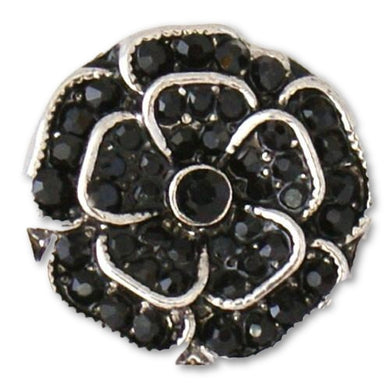 Black Rhinestone Rose - Mya Grace Jewelry