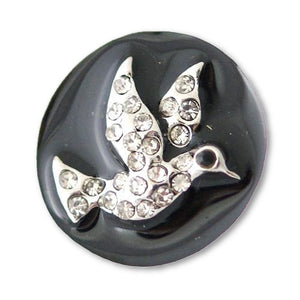 Rhinestone Hummingbird on Black Enamel - Mya Grace Jewelry