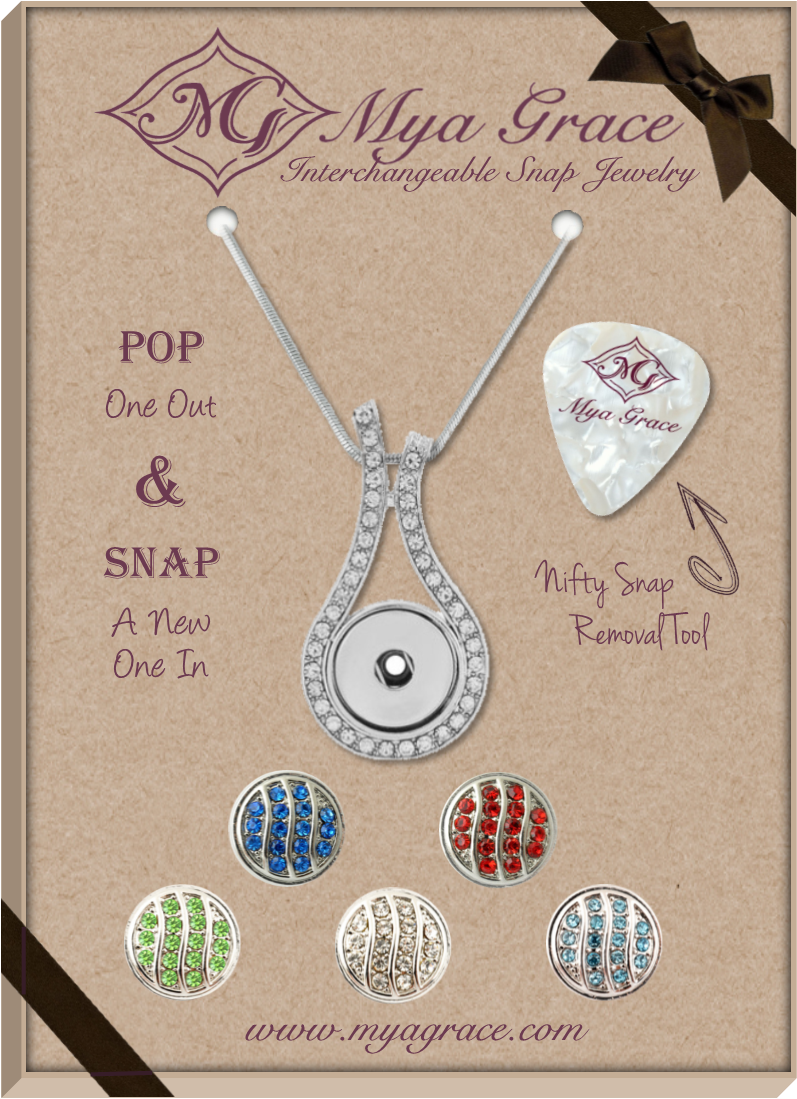 Rhinestone Wave Gift Set with Wave Pendant - Mya Grace - Snap Jewelry