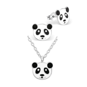 Panda Face Necklace & Earring Set - Mya Grace - Snap Jewelry