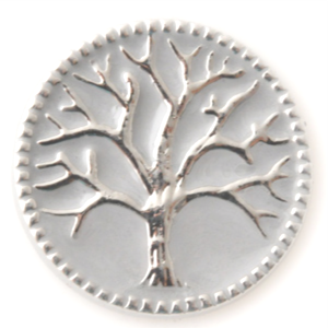 Silver Tree of Life on a White Enamel Background - Mya Grace - Snap Jewelry