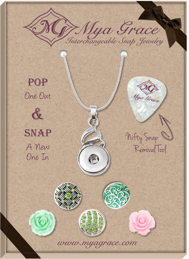 Peachy Greens Gift Set with Twist Pendant - Mya Grace - Snap Jewelry