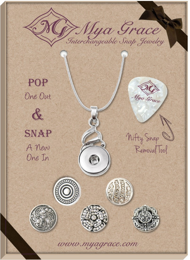 Simply Silver Gift Set with Twist Pendant - Mya Grace - Snap Jewelry
