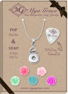 Spring Flowers Gift Set with Twist Pendant - Mya Grace - Snap Jewelry