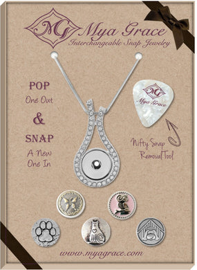 Animal Lover Gift Set with Wave Pendant - Mya Grace - Snap Jewelry