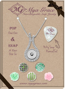 Peachy Greens Gift Set with Wave Pendant - Mya Grace - Snap Jewelry