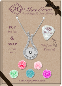 Spring Flowers Gift Set with Wave Pendant - Mya Grace - Snap Jewelry