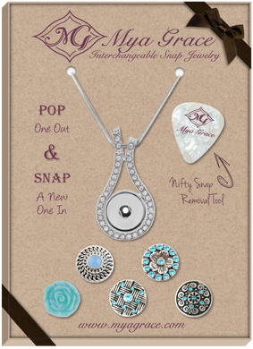 Baby Blues Gift Set with Wave Pendant - Mya Grace - Snap Jewelry