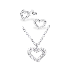 Crystal Heart Necklace & Earring Set - Mya Grace - Snap Jewelry