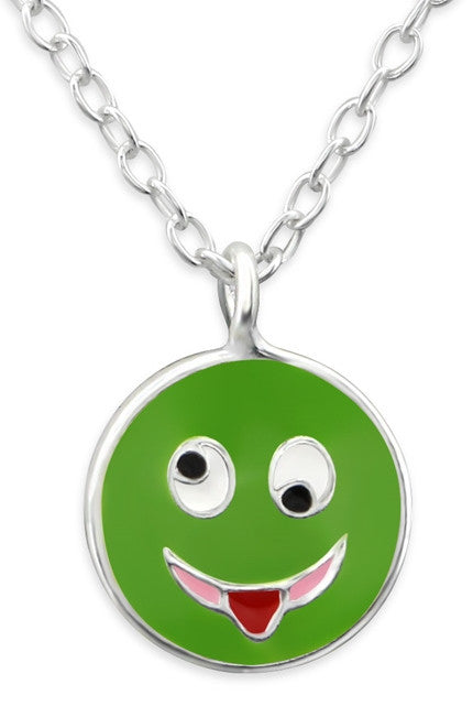 Green Silly Face Emoji Necklace - Mya Grace - Snap Jewelry