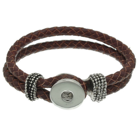 Braided Leather Bracelet in Brown - Mya Grace - Snap Jewelry