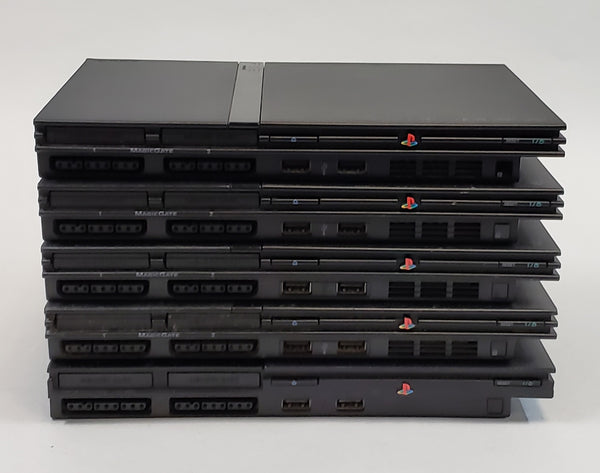 Sony PlayStation 2 Slim (Black) Lot Of 5 Consoles - USED - FOR PARTS ONLY!!