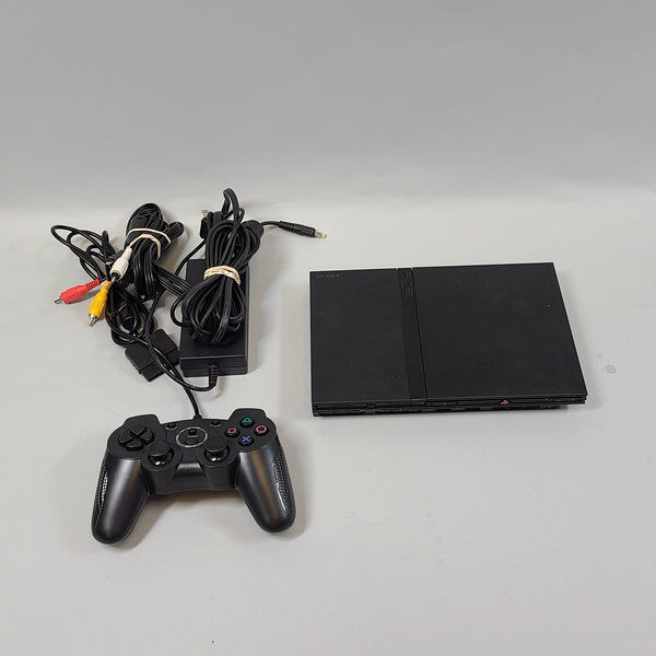 Sony Playstation 2 Slim Black Model SCPH-75001 Console, Controller, cords Used