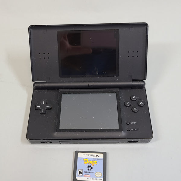 Nintendo DS Lite Black USG-001 Hand-Held System w/ Nintendo Dogs Game Used