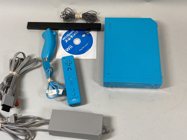 Nintendo Wii Blue RVL-001 Console, Cords, Sensor Bar, Controller w/ Wii Sports Game Used