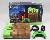 Xbox One s 1tb Minecraft limited edition complete green and brown console used