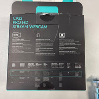 Logitech C922 Pro HD Stream Webcam 1080p Web Streaming- New in Damaged open box