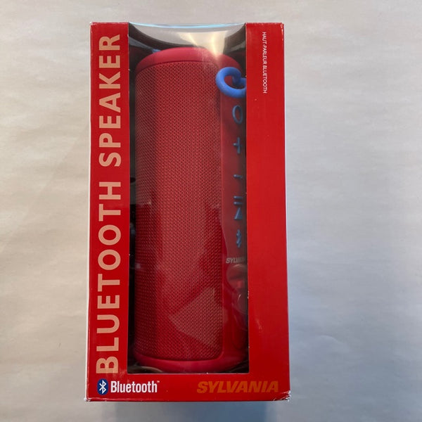 Sylvania Waterproof Bluetooth Speaker SP953-RED with Rubber Finish Red IPX4 - New