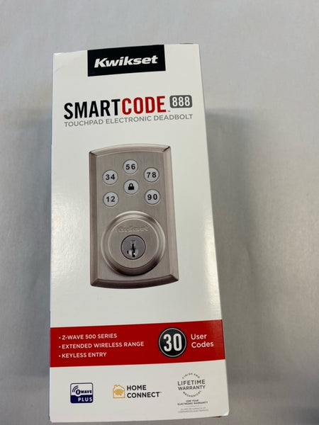 Kwikset SmartCode 888 Touchpad Electronic Deadbolt 98880-004 Satin Nickel - NEW