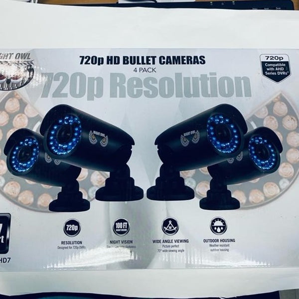 4 Pack Night Owl 720P HD Bullet Cameras Cam-4pk-AHD7 with DVR Recorder  - New
