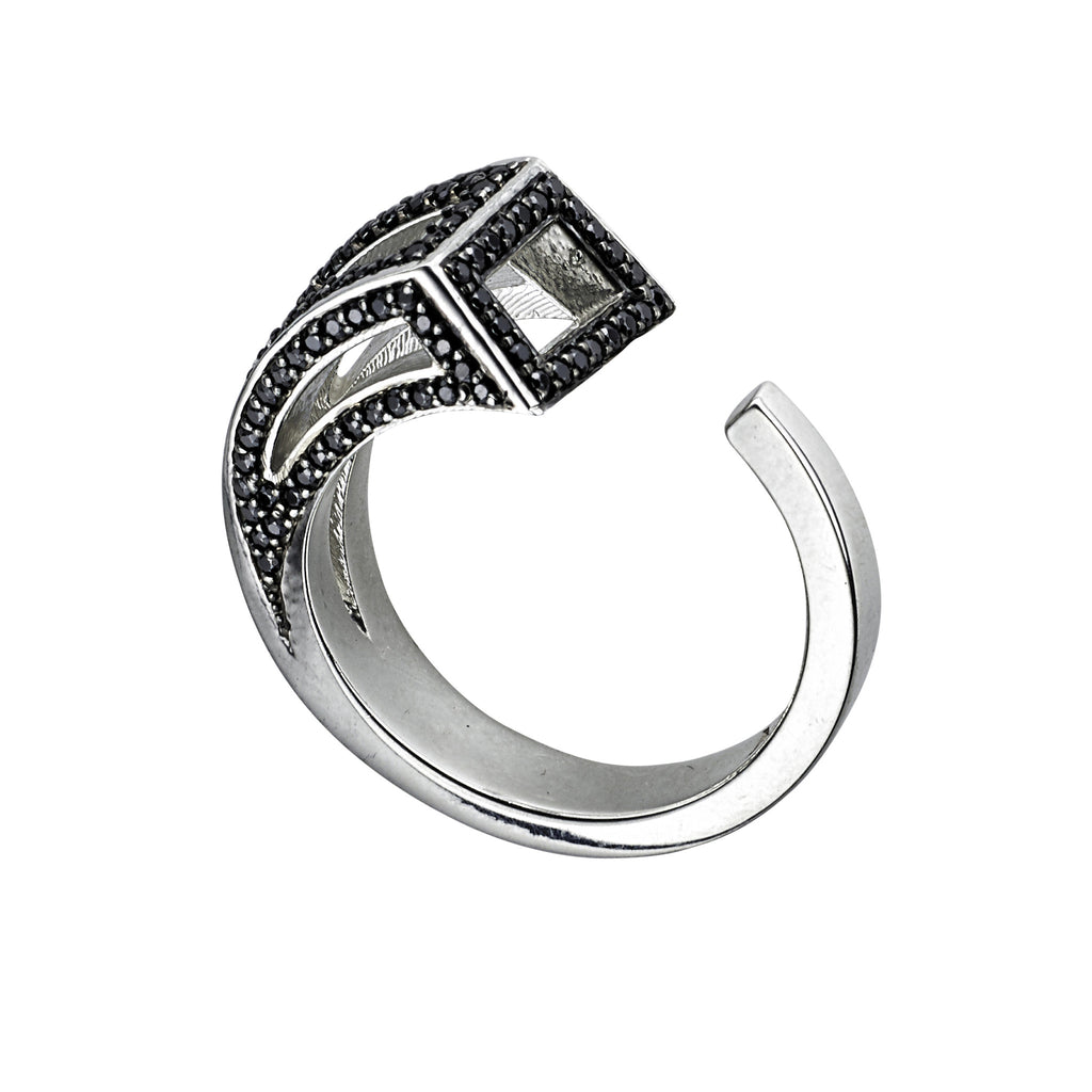 White gold with black diamonds