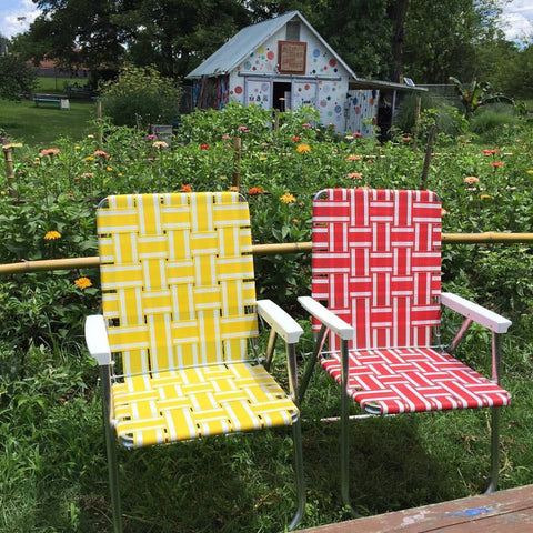 Lawn Chair USA Yellow Stripe Deluxe