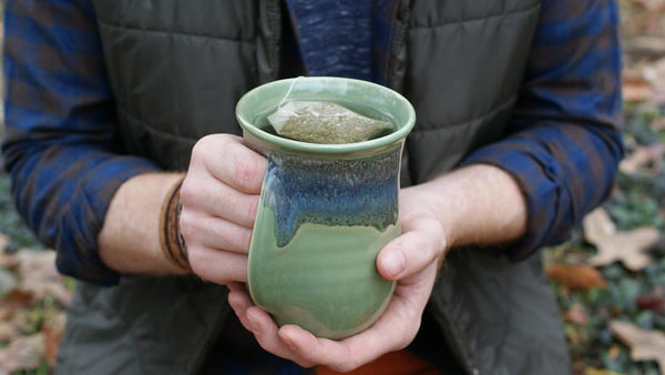 Clay In Motion Handwarmer Mug | Misty Green