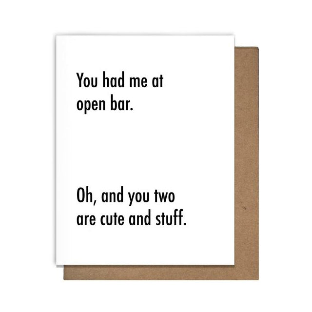 Open Bar Card