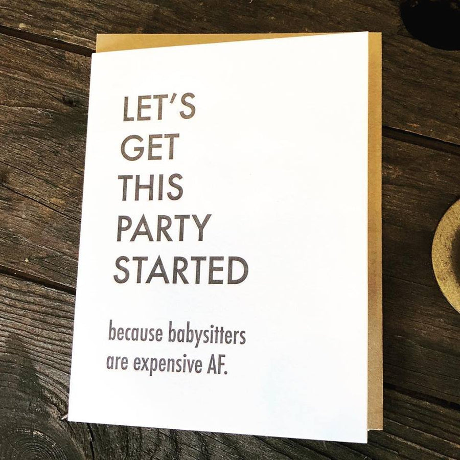 Party Started Sitter Card