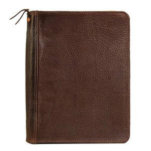 Aspen Leather Zippered Padfolio | Dark Brown