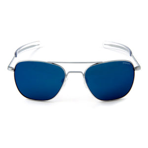 Aviator | Matte Chrome with Blue Sky Flash Lens