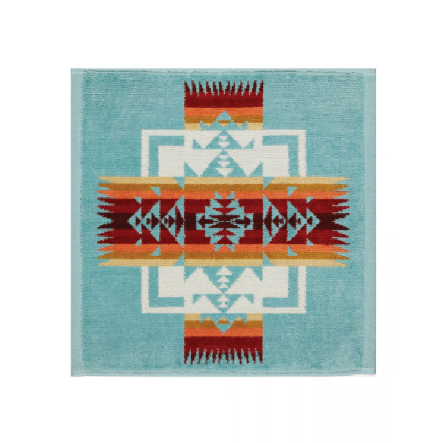 Iconic Jacquard Wash Cloth | Chief Joseph Aqua