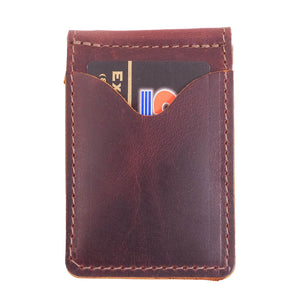 Money Clip Leather Wallet | Burgundy