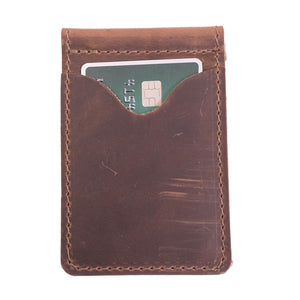 Money Clip Leather Wallet | Dark Brown