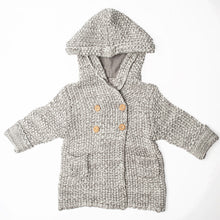 Load image into Gallery viewer, Crochet Knit Hoodie Grey