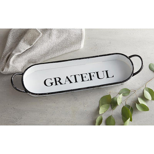 Creative Brands Oval Metal Tray Grateful