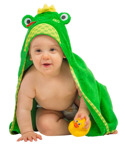 Flippy Frog Hooded Baby Towel