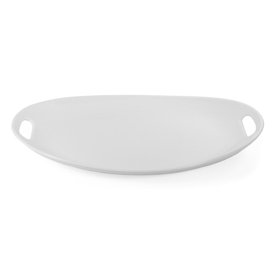 White Oval Platter with Handles