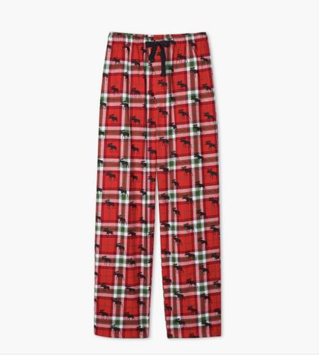 Men's Holiday Moose on Plaid Flannel Pants