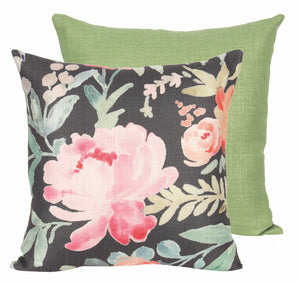Nutcracker Designs Black Blooms Pillow
