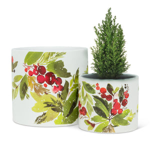 Cranberries & Greenery Planters