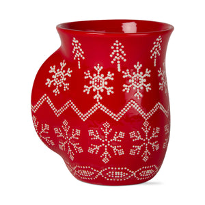 Red Fair Isle Hand Warmer Mug