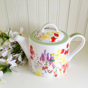 Queens Painted Garden Teapot
