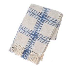 Indigo & Natural Plaid Woven Throw