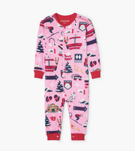 Load image into Gallery viewer, Pink Ski Holiday Baby Union Suit