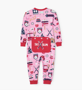 Pink Ski Holiday Baby Union Suit