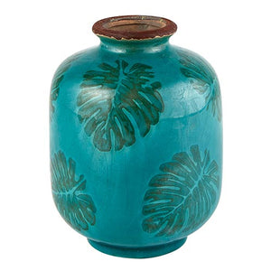 Teal Tropical Leaf Vase